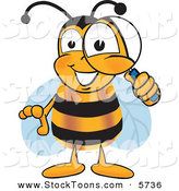 Stock Cartoon of a Cheerful Bee Mascot Cartoon Character Peeking Through a Magnifying Glass by Toons4Biz