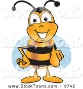 Stock Cartoon of a Cheerful Bee Mascot Cartoon Character Pointing at the Viewer by Toons4Biz