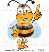 Stock Cartoon of a Cheerful Bee Mascot Cartoon Character Pointing Upwards by Toons4Biz