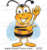 Stock Cartoon of a Cheerful Bee Mascot Cartoon Character Waving and Pointing to the Right by Toons4Biz