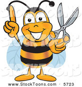 Stock Cartoon of a Cheerful Bee Mascot Cartoon Character with Scissors by Toons4Biz