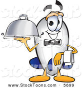 Stock Cartoon of a Cheerful Blimp Mascot Cartoon Character Holding a Serving Platter by Toons4Biz