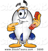 Stock Cartoon of a Cheerful Blimp Mascot Cartoon Character Holding and Pointing to a Telephone by Toons4Biz
