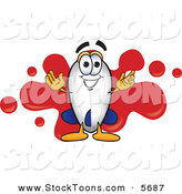 Stock Cartoon of a Cheerful Blimp Mascot Cartoon Character with a Red Paint Splatter by Toons4Biz
