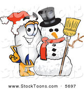 Stock Cartoon of a Cheerful Blimp Mascot Cartoon Character with a Snowman by Toons4Biz