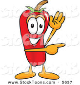 Stock Cartoon of a Cheerful Chili Pepper Mascot Cartoon Character Waving and Pointing by Toons4Biz