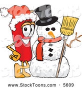 August 6th, 2013: Stock Cartoon of a Cheerful Chili Pepper Mascot Cartoon Character with a Snowman on Christmas by Toons4Biz
