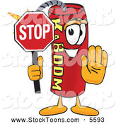 August 22nd, 2013: Stock Cartoon of a Cheerful Dynamite Mascot Cartoon Character Holding a Stop Sign by Toons4Biz