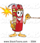Stock Cartoon of a Cheerful Dynamite Mascot Cartoon Character Using a Pointer Stick by Toons4Biz