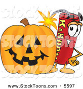 Stock Cartoon of a Cheerful Dynamite Mascot Cartoon Character with a Halloween Pumpkin by Toons4Biz