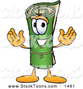 Stock Cartoon of a Cheerful Green Carpet Mascot Cartoon Character by Toons4Biz