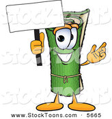 Stock Cartoon of a Cheerful Green Carpet Mascot Cartoon Character Holding a Blank Sign by Toons4Biz