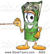 Stock Cartoon of a Cheerful Green Carpet Mascot Cartoon Character Using a Pointer Stick by Toons4Biz