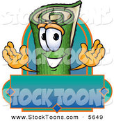 Stock Cartoon of a Cheerful Green Carpet Mascot Cartoon Character with a Blank Label by Toons4Biz