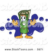 Stock Cartoon of a Cheerful Green Carpet Mascot Cartoon Character with a Blue Splatter by Toons4Biz