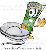 Stock Cartoon of a Cheerful Green Carpet Mascot Cartoon Character with a Computer Mouse by Toons4Biz