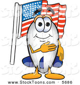 Stock Cartoon of a Cheerful Patriotic Blimp Mascot Cartoon Character Pledging Allegiance to the American Flag by Toons4Biz
