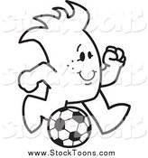 Stock Cartoon of a Cheerful Squiggle Guy Playing Soccer by Toons4Biz