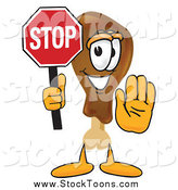 Stock Cartoon of a Chicken Drumstick Mascot Holding a Stop Sign by Toons4Biz