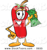Stock Cartoon of a Chili Pepper Mascot Cartoon Character Holding a Dollar Bill on White by Toons4Biz