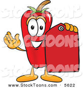 Stock Cartoon of a Chili Pepper Mascot Cartoon Character Holding a Red Price Tag and Smiling by Toons4Biz