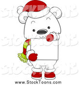 Stock Cartoon of a Christmas Polar Bear Holding a Blank Sign by BNP Design Studio