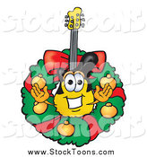 Stock Cartoon of a Christmas Wreath and Guitar by Toons4Biz