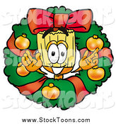 Stock Cartoon of a Christmas Wreath and Happy Broom Character by Toons4Biz