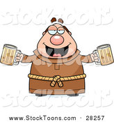 Stock Cartoon of a Chubby Drunk Monk with Beers by Cory Thoman