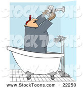Stock Cartoon of a Chubby Plumber Installing a Shower Head by Djart