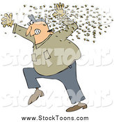 Stock Cartoon of a Chubby White Man Running Away from a Swarm of Bees by Dennis Cox
