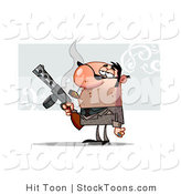Stock Cartoon of a Cigar Smoking Mobster Guy Holding a Tommy Gun by Hit Toon