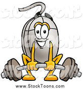 Stock Cartoon of a Computer Mouse Lifting a Heavy Barbell by Toons4Biz