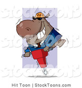 Stock Cartoon of a Construction Worker Hippo in a Hardhat by Hit Toon