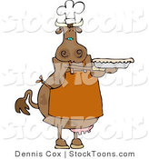 Stock Cartoon of a Cow Baker by Dennis Cox