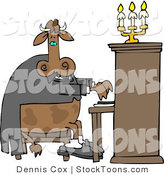 Stock Cartoon of a Cow Playing a Piano by Djart