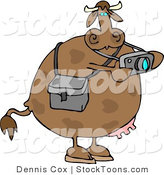 Stock Cartoon of a Cow Taking Photographes with a Camera by Dennis Cox