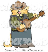 Stock Cartoon of a Cowboy Musician Cat by Djart