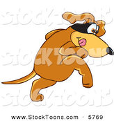 Stock Cartoon of a Creeping Brown Dog Mascot Cartoon Character with a Mask over His Eyes, Being Sneaky by Toons4Biz