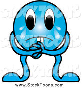Stock Cartoon of a Crying Sad Blue Creature by Pams Clipart