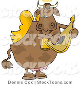 Stock Cartoon of a Cupid Angel Cow by Dennis Cox