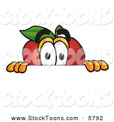 Stock Cartoon of a Curious Apple Character Mascot Peeking over a Horizontal Surface by Toons4Biz