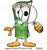 Stock Cartoon of a Curious Green Carpet Mascot Cartoon Character Looking Through a Magnifying Glass by Toons4Biz