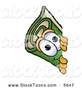 Stock Cartoon of a Curious Green Carpet Mascot Cartoon Character Peeking Around a Corner by Toons4Biz