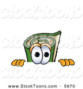 Stock Cartoon of a Curious Green Carpet Mascot Cartoon Character Scared, Peeking over a Surface by Toons4Biz