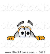 Stock Cartoon of a Curious White Blimp Mascot Cartoon Character Scared and Peeking over a Surface by Toons4Biz