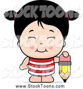 Stock Cartoon of a Cute Asian Girl with a Pencil by Cory Thoman