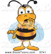 Stock Cartoon of a Cute Bee Mascot Cartoon Character Whispering and Gossiping by Toons4Biz