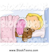 Stock Cartoon of a Cute Blond White Girl Sleeping and Hugging Her Teddy Bear by BNP Design Studio
