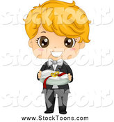 Stock Cartoon of a Cute Blond White Ring Bearer Boy by BNP Design Studio